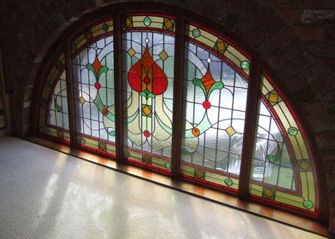 Bradford Queensbury Barn Conversion Bedroom Stained Glass Window